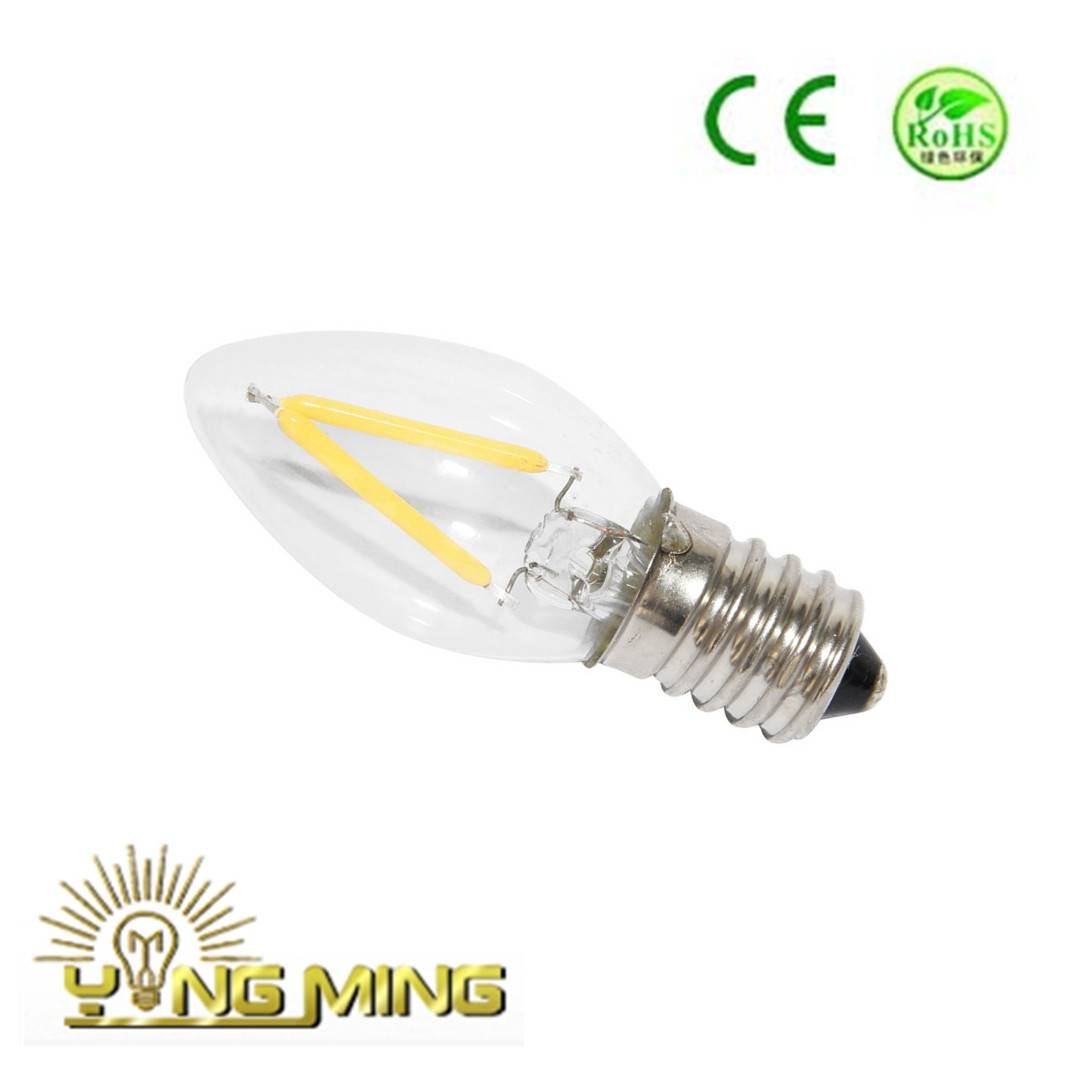 Candle c7 clear 1w dimmable led bulb, ce rohs bulb