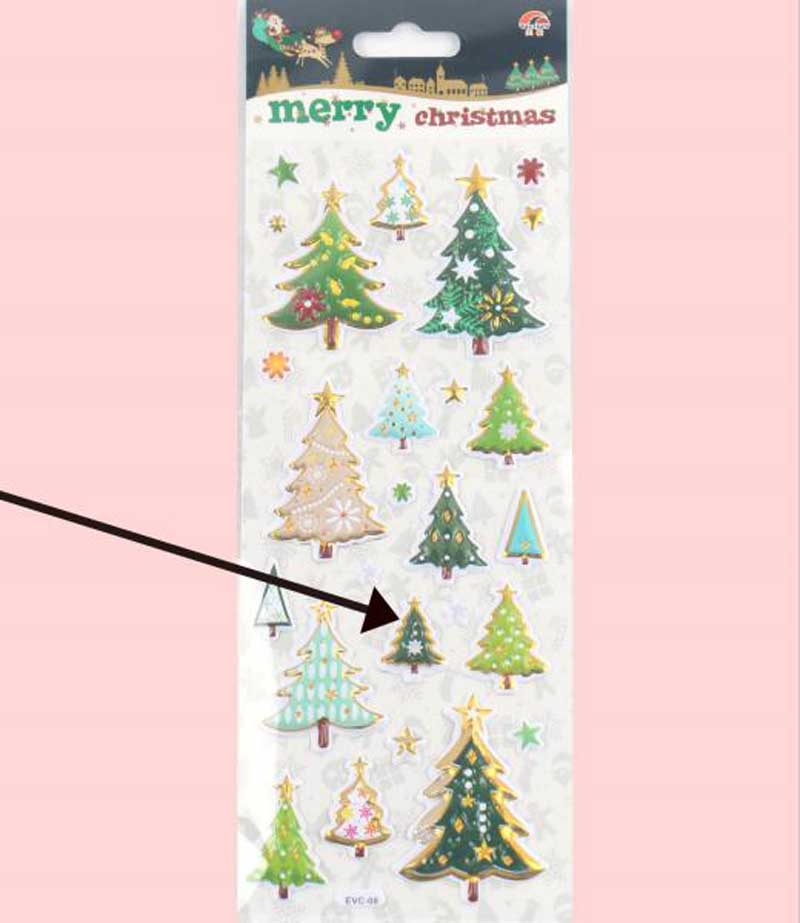 POP-UP Xmas sticker with stamping promotional Christmas sticker