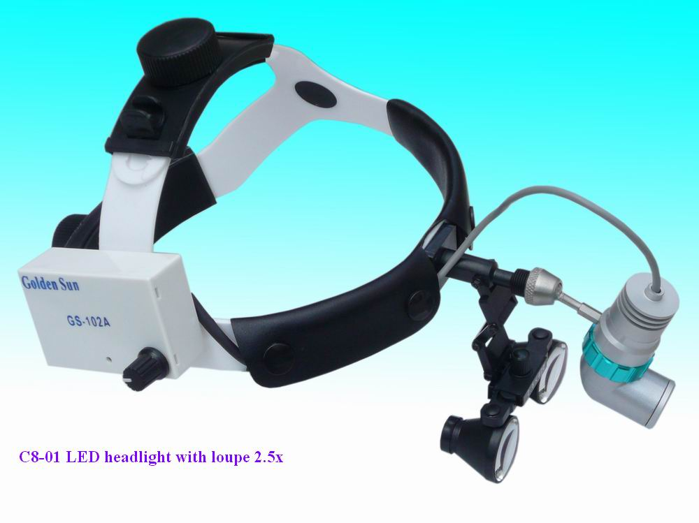 Medical Dental Portable LED headlight with loupes 2.5x