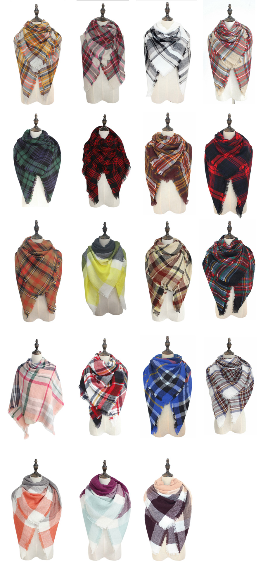 woman colorful plaid acrylic napped shawl