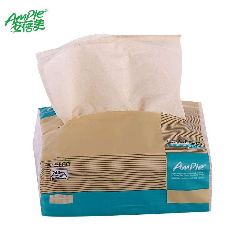 100% bamboo pulp 3 Ply Layer Office & Hotel Application Unbleached virgin bamboo soft facial tissue