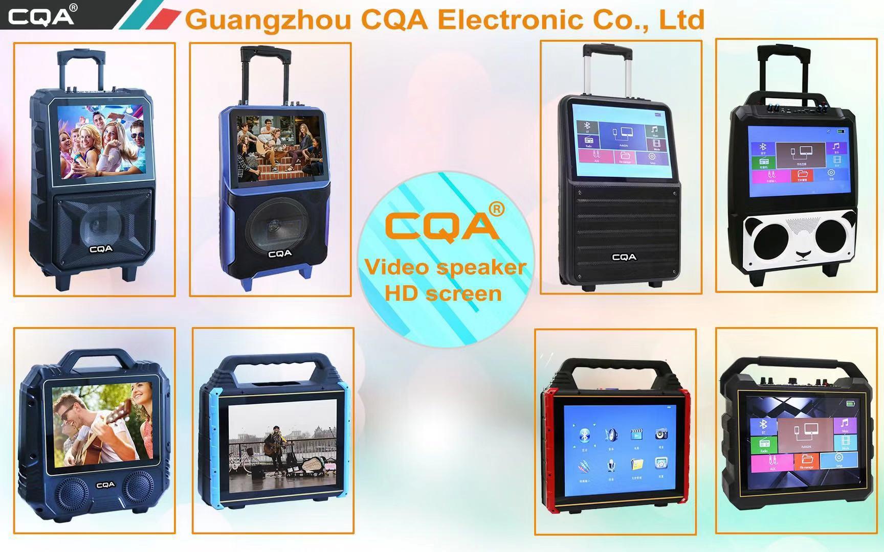2019 new design CQA pa speaker 8 inch trolley dj party speaker with screen display