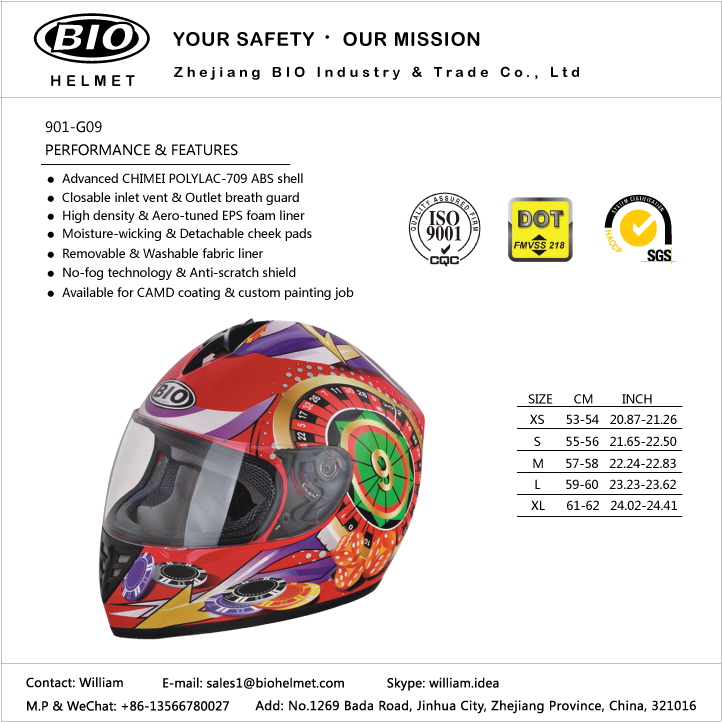 new design motorcycle helmet DOT/ECE proved 2018