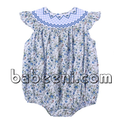 Nice geometric flower smocked baby bubble