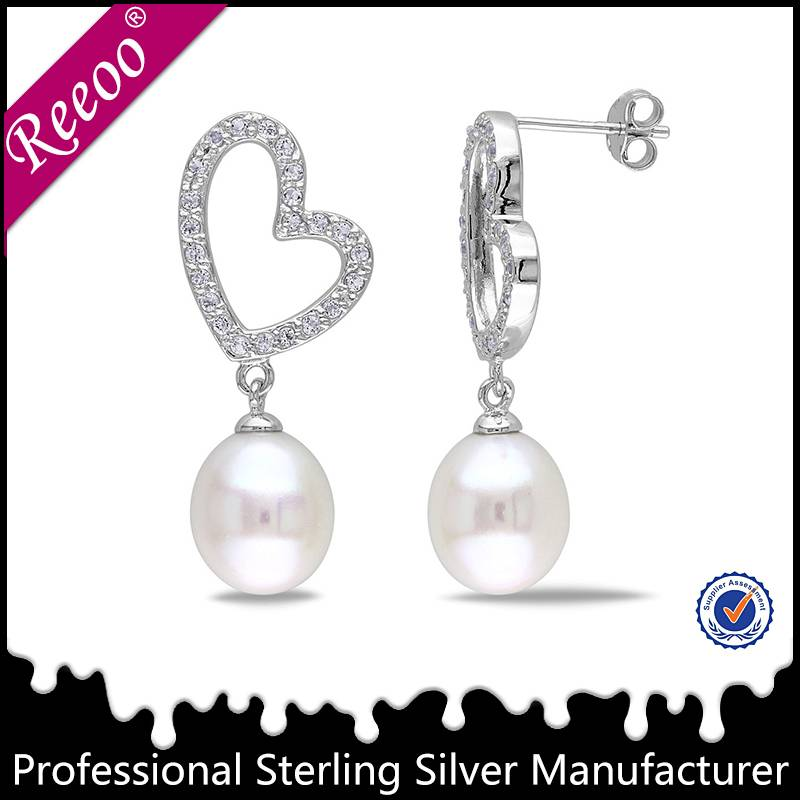 fashion pearl earring design wholesale silver pearl jewelry