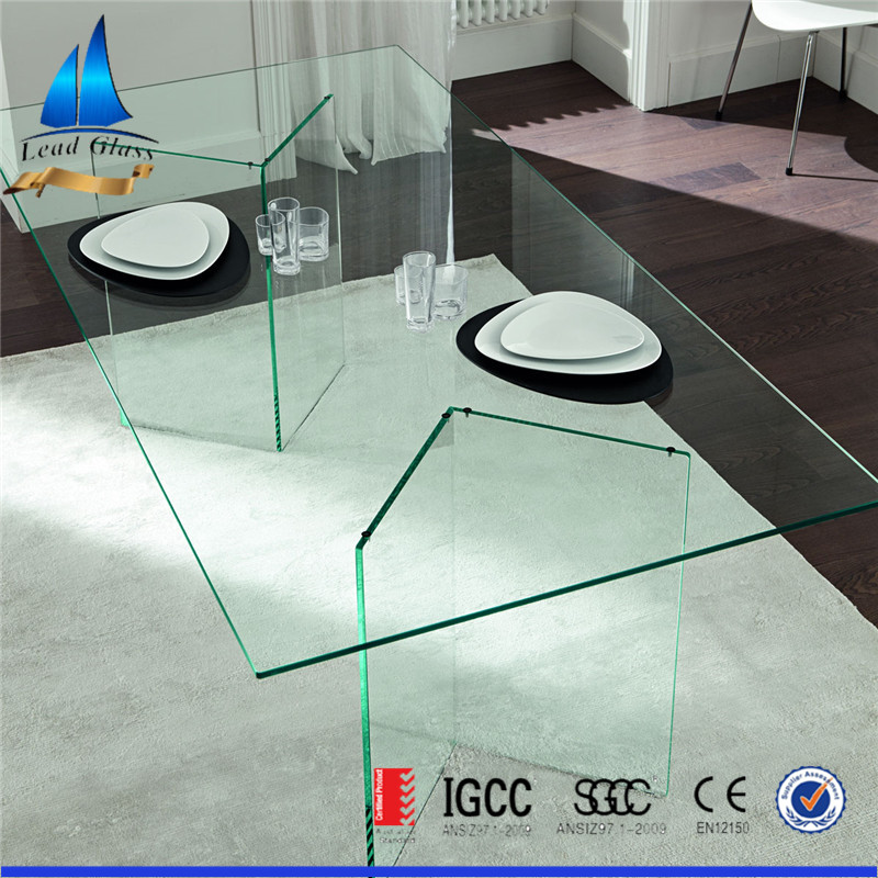 Newest design table glass/glass dining table/table top glass prices for custom made