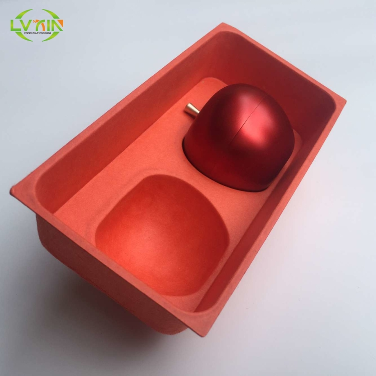 New design red jewelry colored sugarcane tray molded pulp packaging
