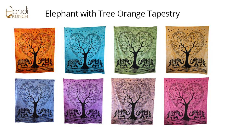 Handicrunch | Indian  Elephant Tree Of Life Tapestry Wall Hanging