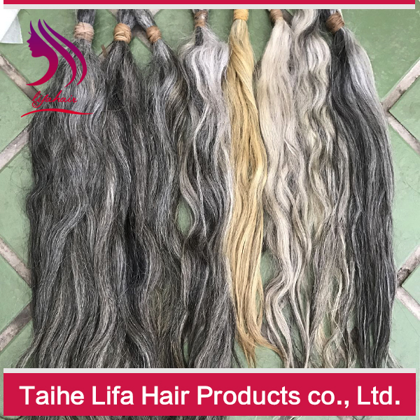 Unprocessed Products 100% Human Virgin Grey Hair Bulk