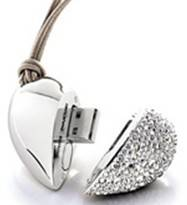 heart shape crystal flash usb