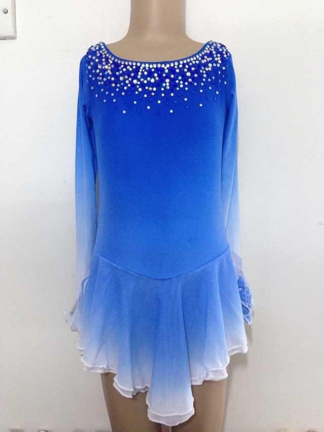 Blue Figure Skating Dresses Custom Girls Competition Skating Dress