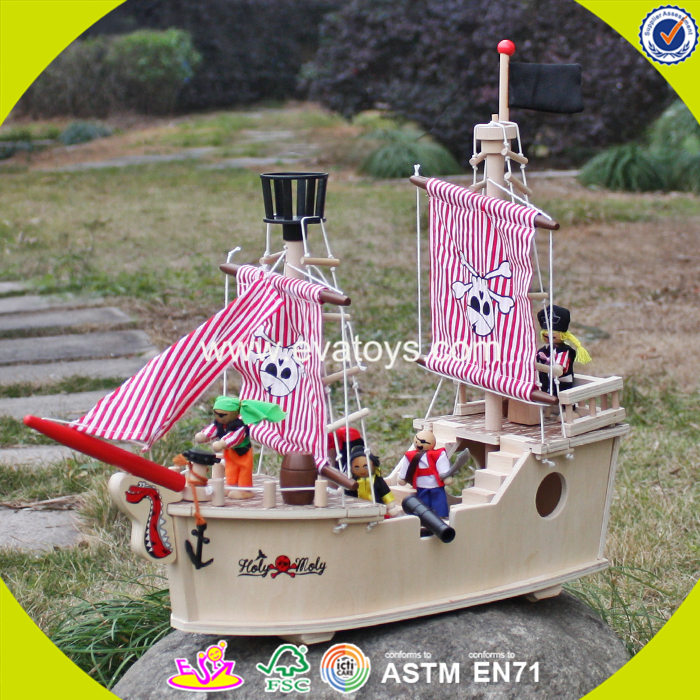 2017 wholesale baby wooden toy pirate ship new design kids wooden toy pirate ship best natural woode