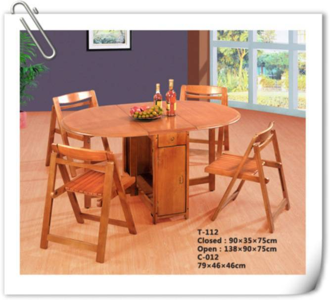 rubber wood fold table (T-112)