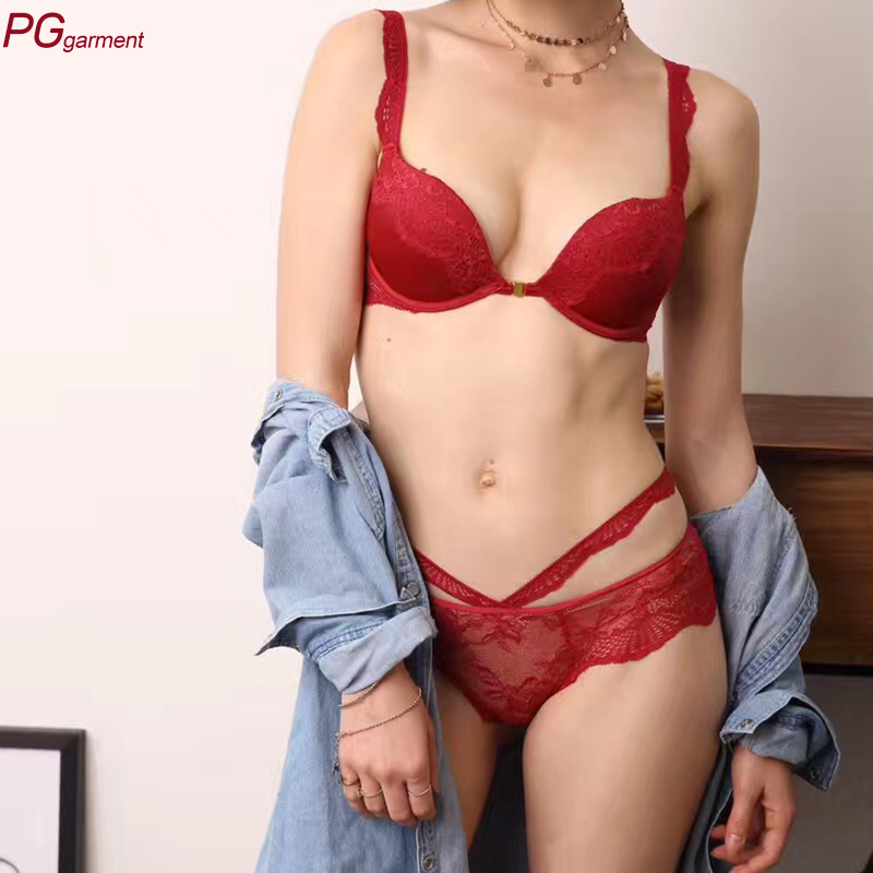 Hot Sexy Girls Bra Photos Women Embroidered Lace Front Closure Underwire Bra and panty