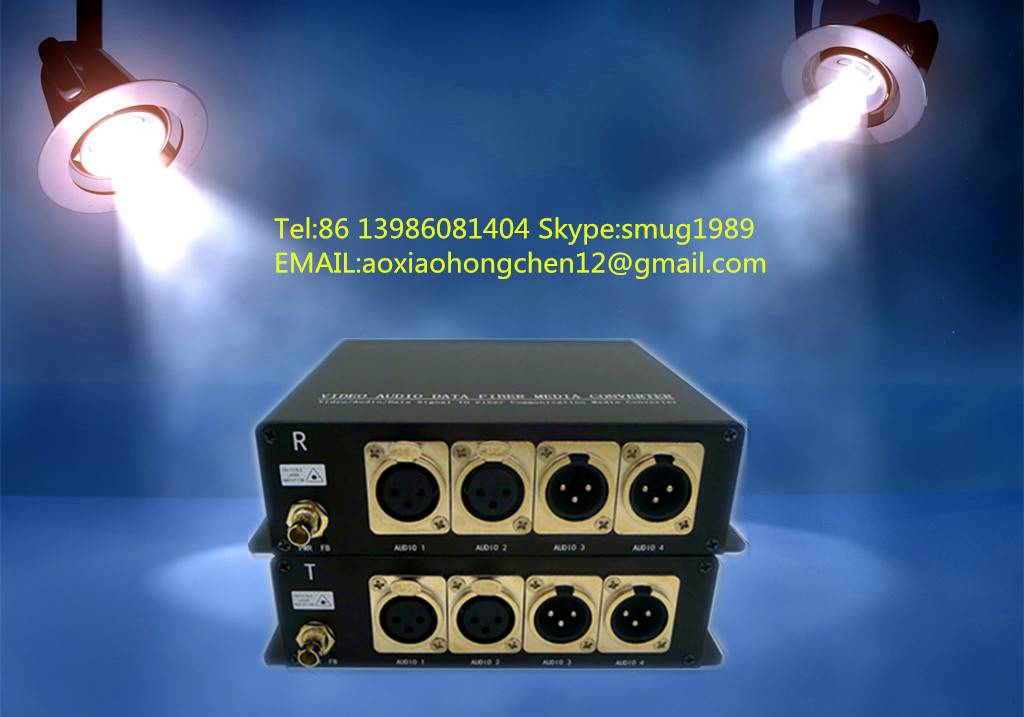 2CH Bidi XLR balanced audio over fiber optical extender for Broadcast/Studio, CCTV audio and AV Syst