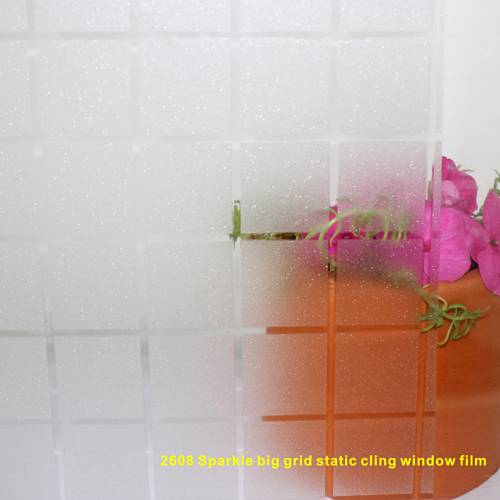 Big grid sparkle static cling window film