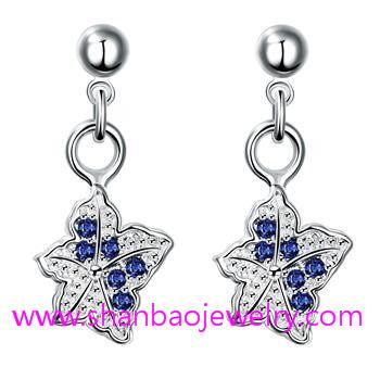 Silver Plated Costume Fashion Zircon Jewelry Women Earrings