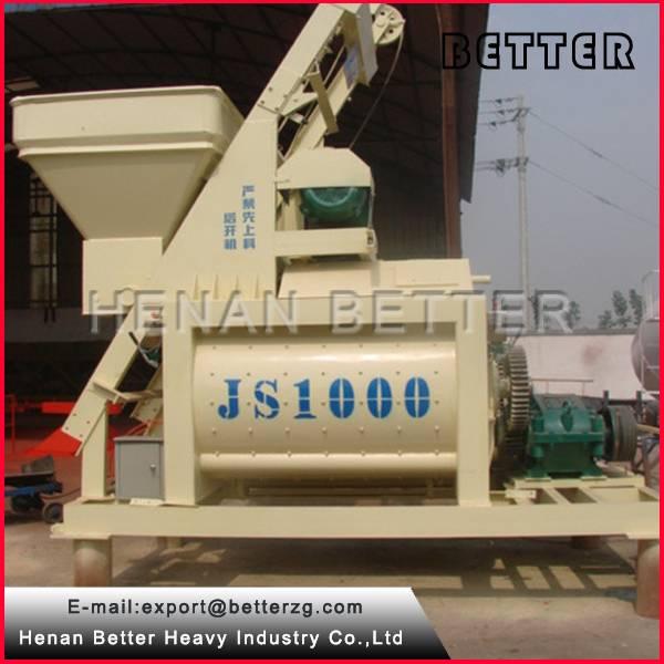 High Efficient JS1000 Twin Shaft Concrete Mixer 1m3