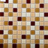 Decorated crystal glass mosaic tile