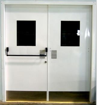 double door with vision glass and push bar