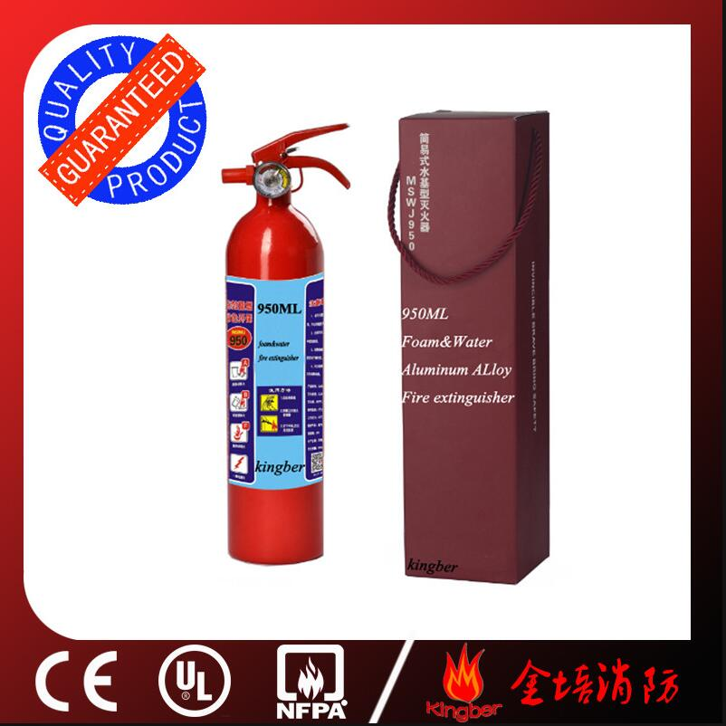 1KG Portable Aluminum Alloy Foam Water Fire Extinguisher for Vehicle Using with CE Approval