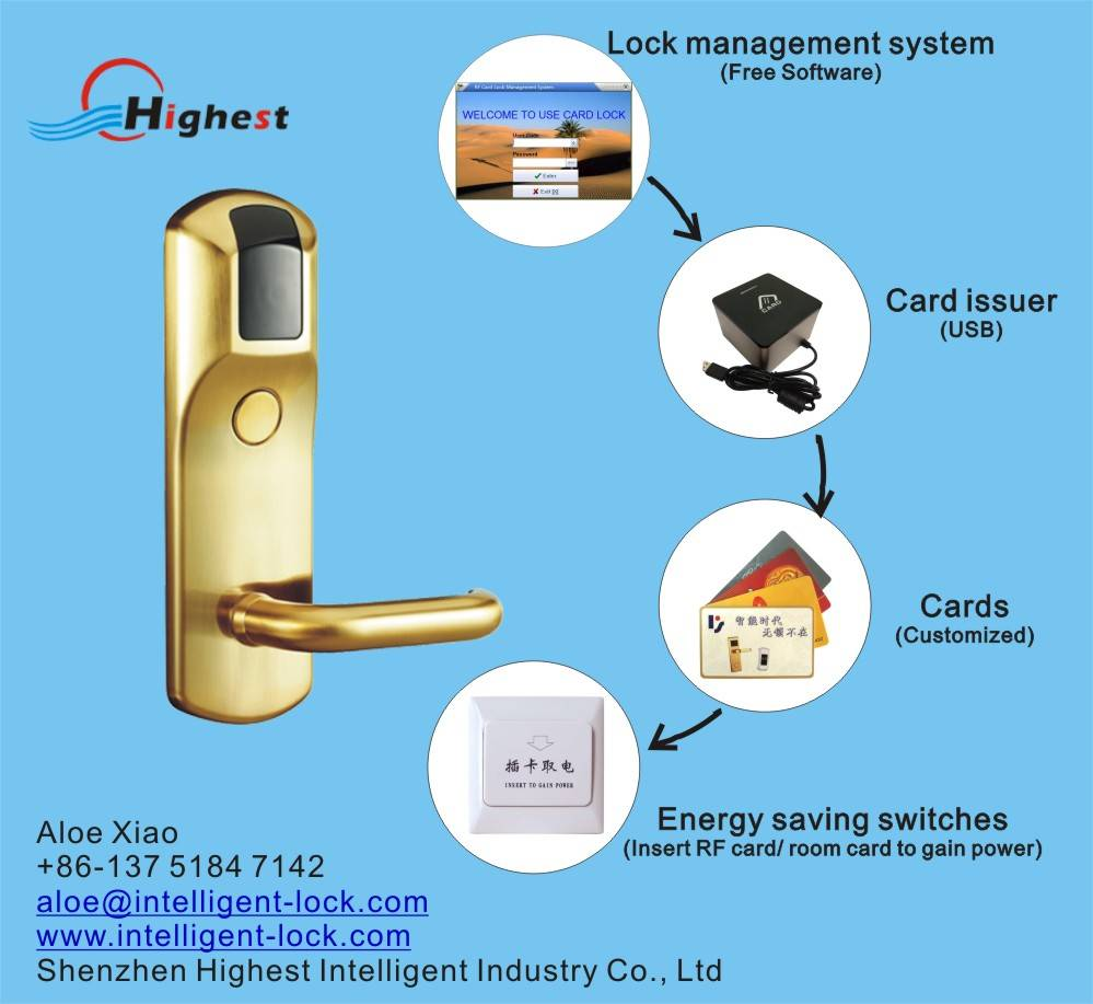 RX518E-J Mifare hotel card door lock with system