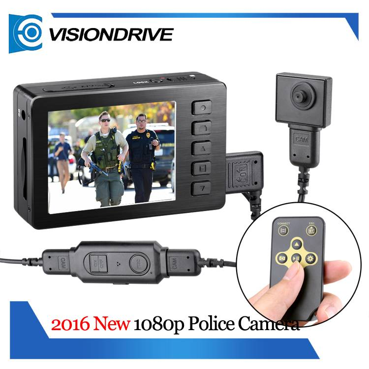 VD5000 65 degree WDR 1080P Body video camera DVR Monitor and Button camera