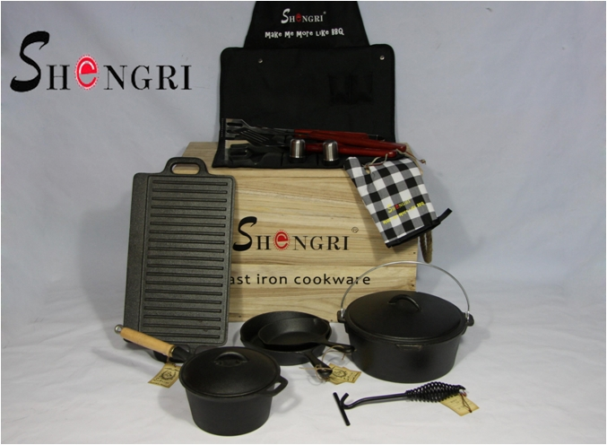 Shengri Cast Iron BBQ Cookware Sets Pre-seasoned Coating 6-piece set Outdoor Cooking