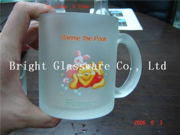 Custom brand logo frosted glass beer mug with handle