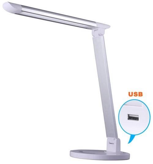 Simple design USB port plastic portable 7-level Dimmer Led desk lamp