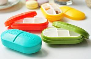 Candy color 6 parts pill box