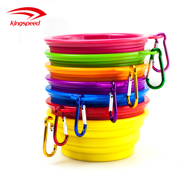 Colorful Eye-catching Portable Foldable BPA Free Printing Logo Silicone Pet Bowl