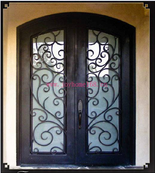 Double wrought iron door with glass