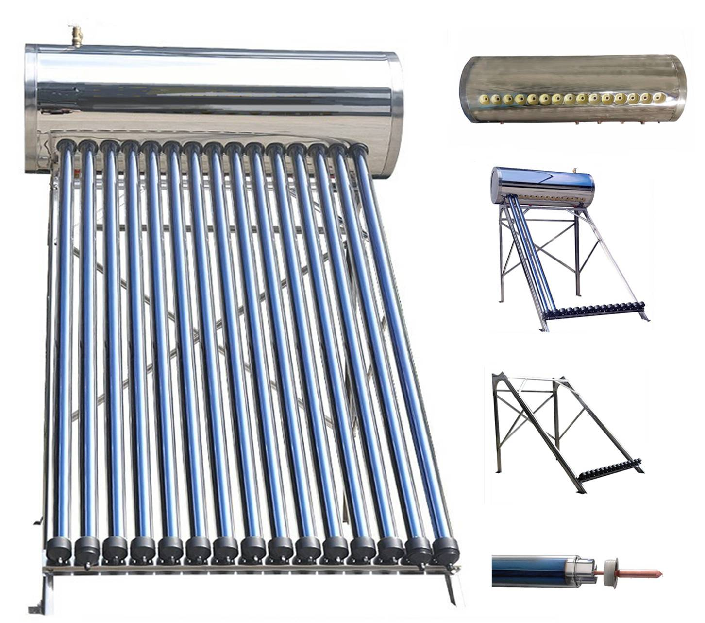 Compact Pressurized Anticorrosion Solar Water Heater in 304 Stainless Steel