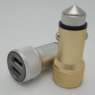 2Port USB Car Charger With Safety Hammer