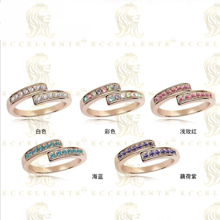 High End Crystal Ring Gold Plated Ring