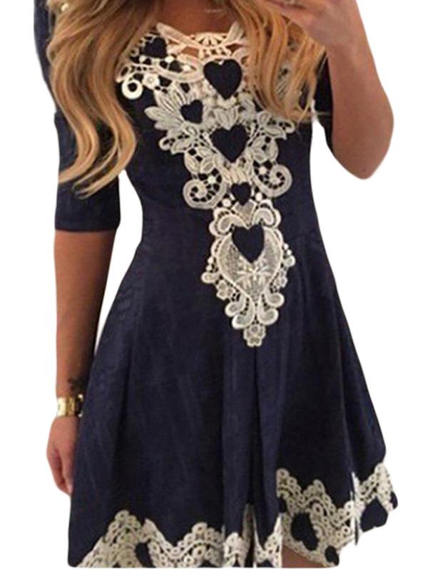 Summer Women Fashion Patchwork O-Neck Half Sleeve A-Line Above-KneeDress WT51974