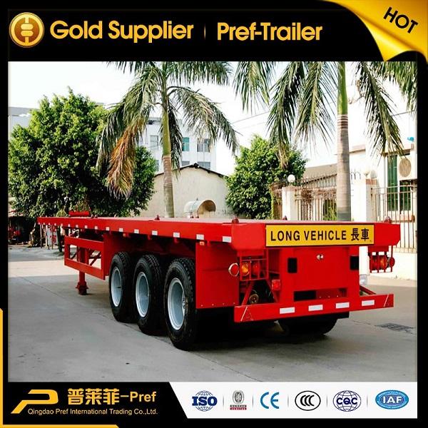 PREF 3 axles 40ft flatbed container semi trailer