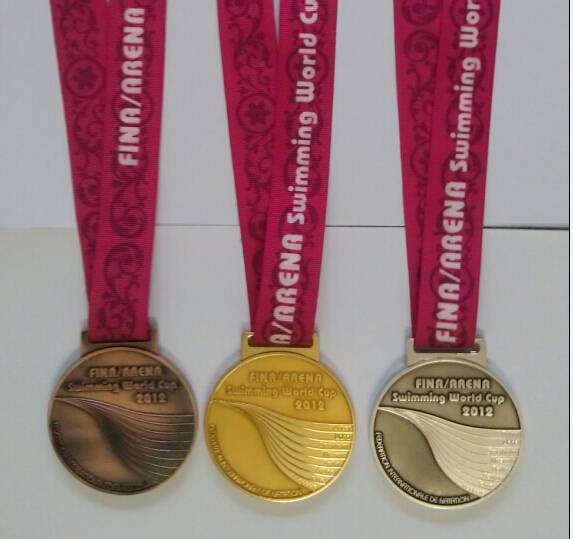 Custom Gold Swimming Award Metal Medals And Ribbon