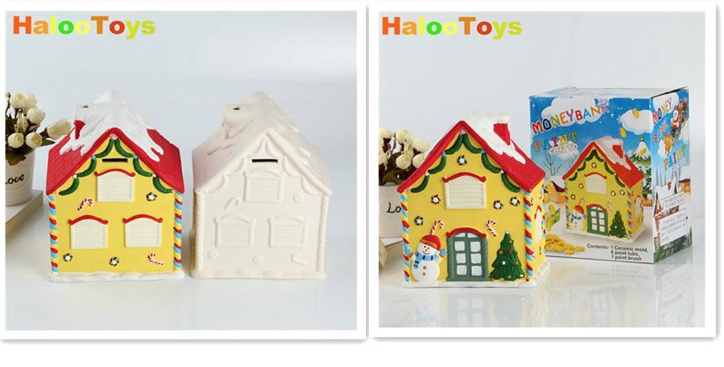 diy christmas house drawing money bank toy
