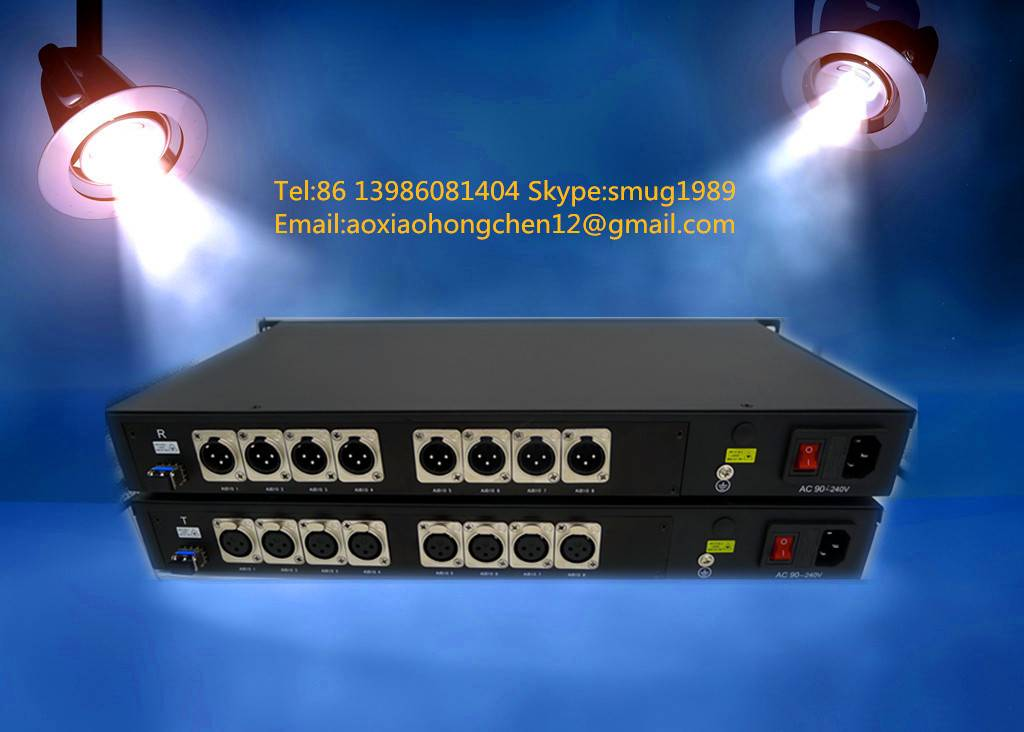 8CH Unidirectional XLR balanced audio over ST/LC/FC fiber extender to 20~80KM