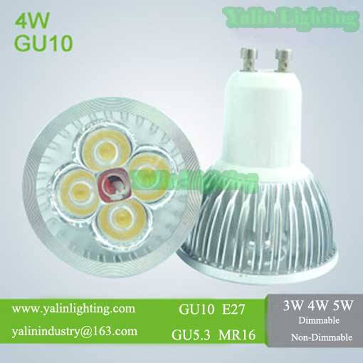 GU10 dimmable LED lamp, high power MR16 E27 GU5.3 spotlight, 3W 4W 5W ceiling light