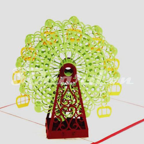 Ferris Wheel-Kirigami-Origamic-Pop up-3D-Laser cut-Paper cutting-Handmade-Building-Birthday card