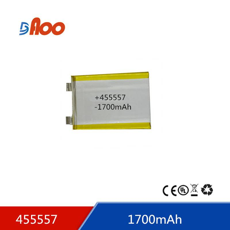 Li-polymer batteries 455557 3.7V 1700mAh rechargeable battery