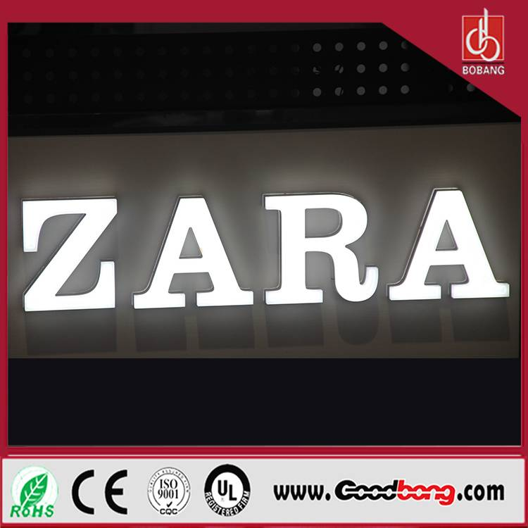 Professional manufacture thin light letter signage for famous store;standard export luxury