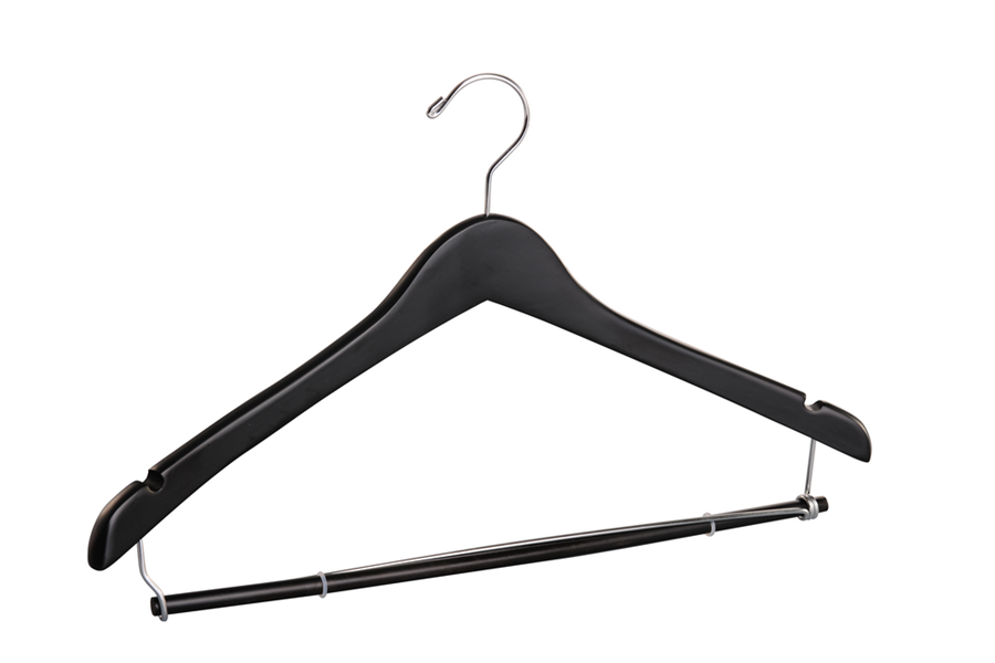 Black wooden coat hanger with locking bar black shirt /pant hanger