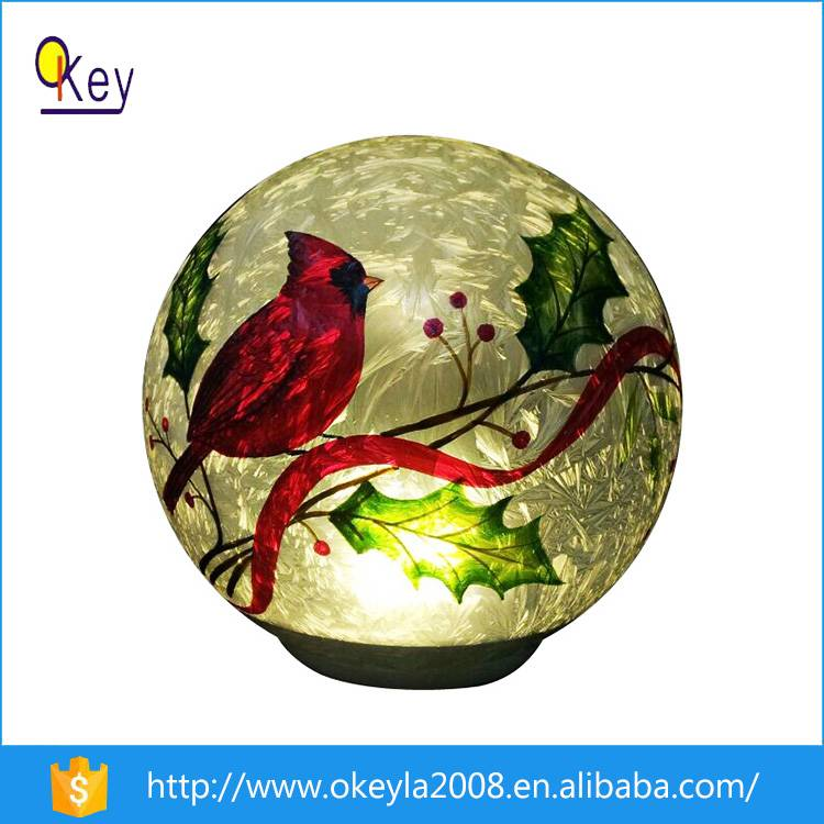 6 Inch Personalized Christmas Glass Bird Painting Ball Ornaments With Lights