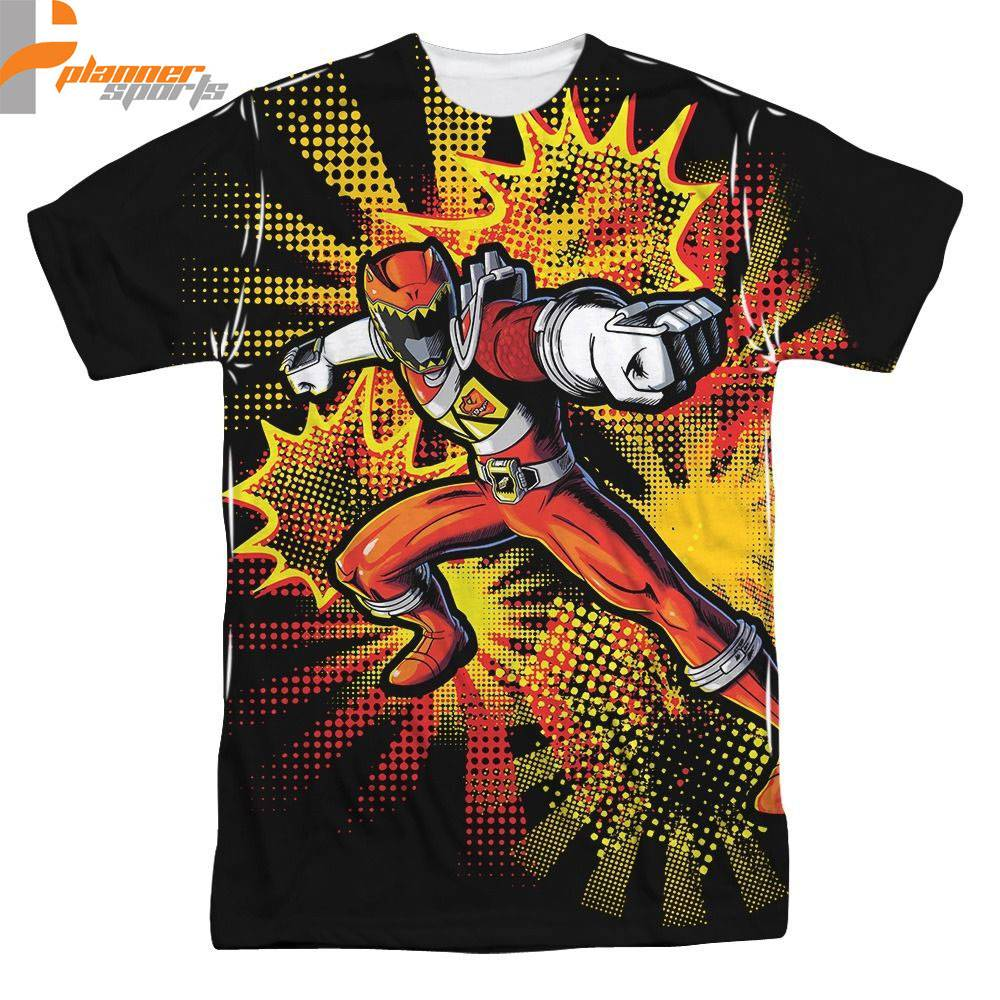Dino Charge Red Ranger Licensed Sublimation Poly Adult Shirt S-3XL