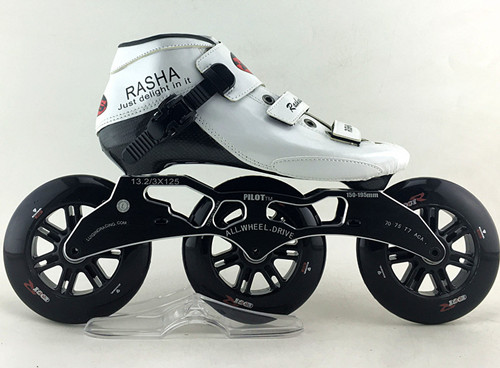Rasha Inline Speed Skates Withe Color Inline Speed Skating Shoes Professional Carbon Skates 3 Wheels