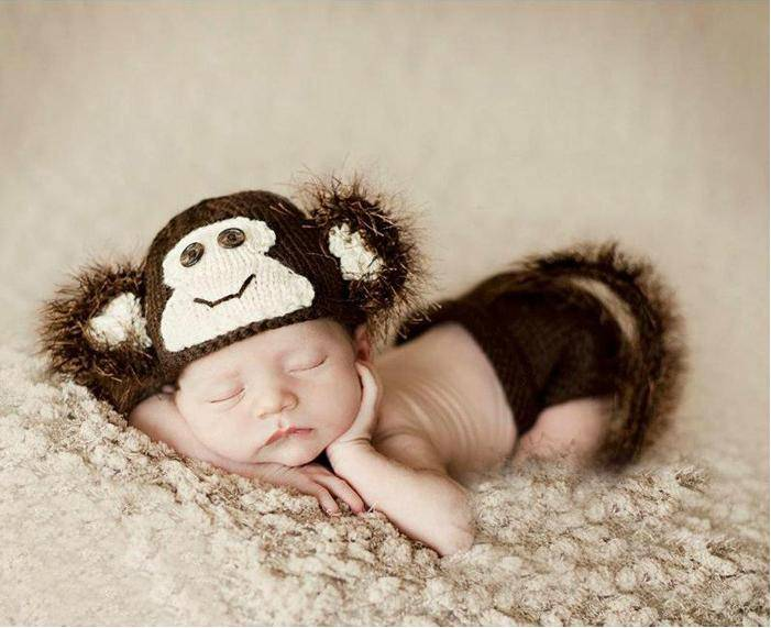 Free Shipping Soft Short Crochet Newborn Baby Photography Props Knitted Monkey Infant Photo Headband
